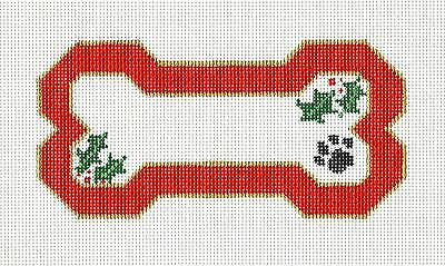 SP.ORDER ~ Dog Bone with Paw Print on Red HP Needlepoint Canvas Ornament -