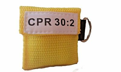 1 Yellow Face Shield Cpr Mask In Pocket Keychain Imprinted Cpr 302