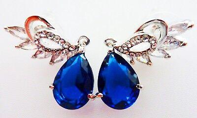 EARRINGS ANGEL WING CUBIC ZIRCONIA WATER DROP DARK BLUE AAA + BEAUTIFUL GIFT