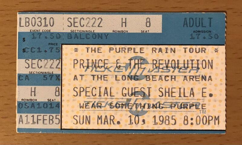 1985 PRINCE & THE REVOLUTION PURPLE RAIN TOUR LONG BEACH CONCERT TICKET STUB