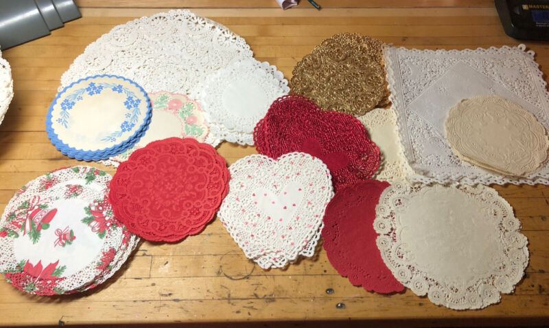 100 VINTAGE BAKERY PAPER DOILY CAKE LOT CHRISTMAS, HEART, FLORAL, GOLD, LARGE
