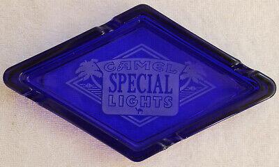 VINTAGE CIGARETTE ADVERTISING CAMEL SPECIAL LIGHTS ASHTRAY COBALT BLUE GLASS