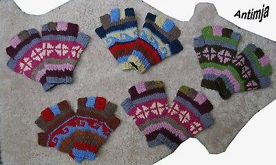 Handschuhe Wolle Fingerlos Gefüttert Warme Fingerlinge Bunt Handgestrickt Wolle Warme Wolle Handschuhe