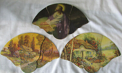 Vintage folding paper fan advertisng - life ins, mortuary, furniture, PA, MO, WI