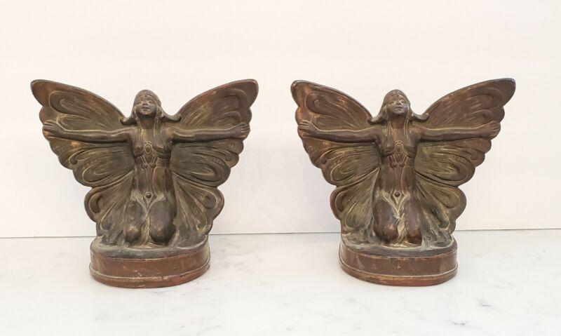 Vintage Art Nouveau Bronze Butterfly Girl Bookends 1920