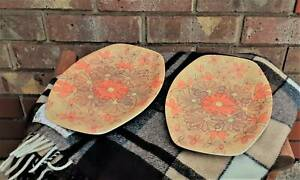 Vintage Orange and Brown Melamine Bessemer Plates Golden Grove Tea Tree Gully Area Preview