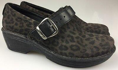 BORN Women's Peggy Suede Leather Leopard Print Slide Clogs Size 7.5 M 38.5 Leopard Print Clogs