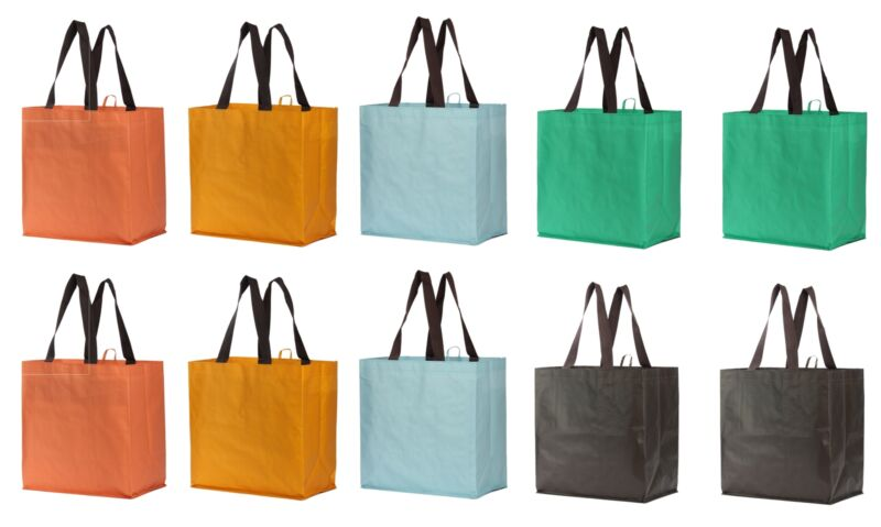 Reusable Grocery Bags Large Eco Friendly Laminated  Foldable Totes  (Set of 10)