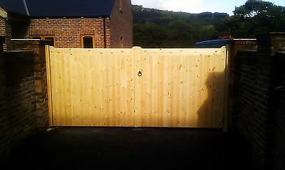 straight top wooden timber driveway gates 6'0