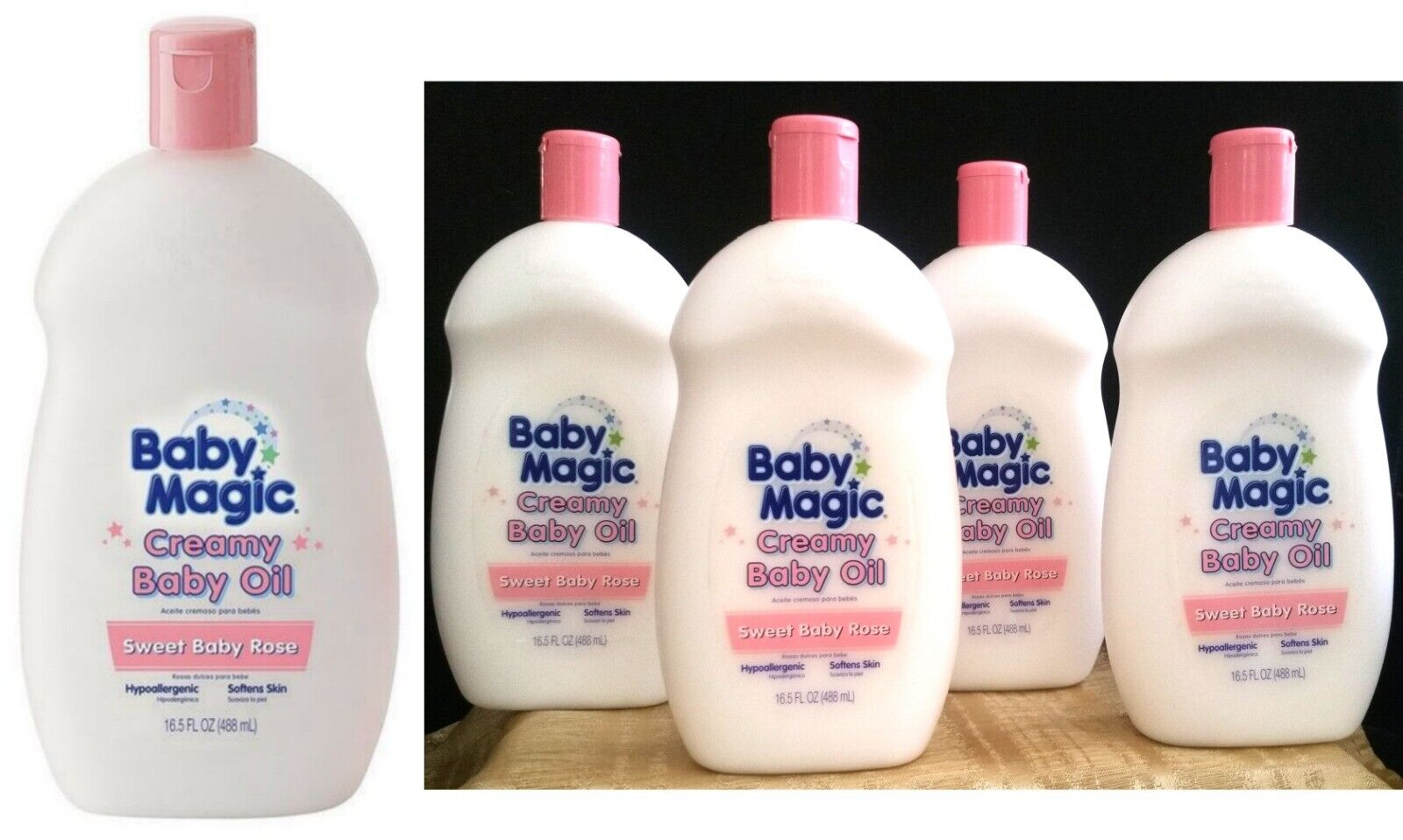 5 Baby Magic Creamy Baby Oil Sweet Baby Rose Lotion Big 16.5