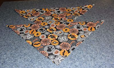 Two Brand New Halloween Spiders Bats Design Dog Bandanas For Dog Rescue Charity