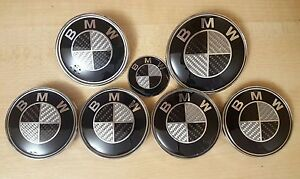 Complete Black Carbon Badge And Wheel Centre Caps Set For BMW 1 3 5 7 Z3 Z4 X3