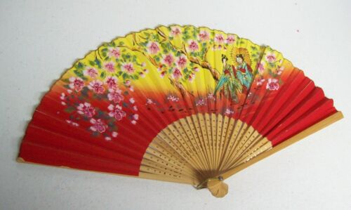 Vintage Asian Ladies Fan  RED Yellow GEISHAS
