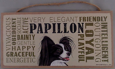PAPILLON (Black & White) Subway Style  5 X10 hanging Wood Sign made in the USA
