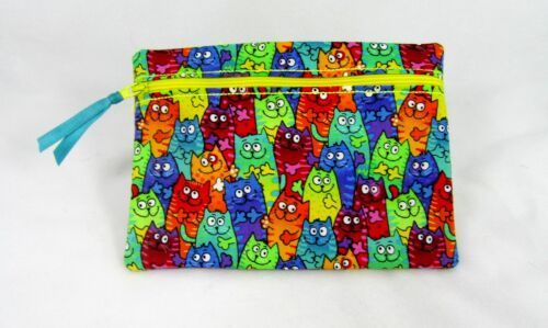 Whimsical Kitty Cat Print  Zippered Lined Cotton Fabric Cosmetic Pouch Handmade
