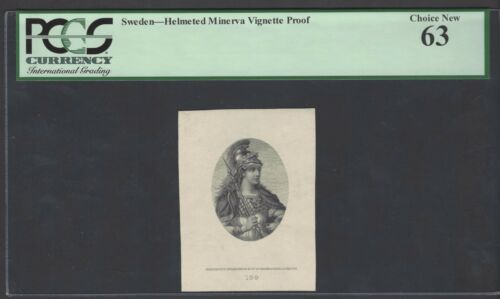 Sweden Vignette Proof Helmeted Minerva Used on date 1879 PS265-S266