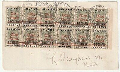 1890 BLOCK OF 12 BRITISH GUIANA INLAND REVENUE RED ONE CENT OVERPRINTED 1 DOLLAR