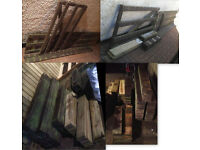 wood wooden garden fence section and gate plus over 120 fence planks new and used and beams
