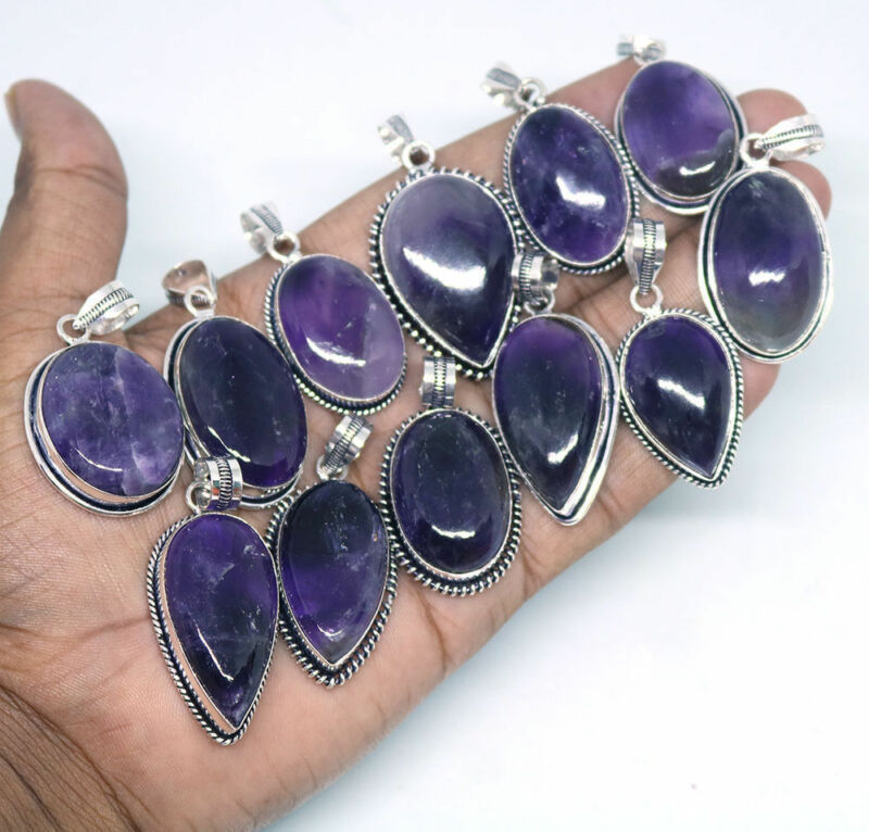 Amethyst Gemstone Pendant 5pcs 925 Sterling silver Plated Handmade Pendants