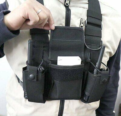 Chest 3 Pocket Harness Nylon Bag Pack Backpack Holster For Radio Walkie Talkie