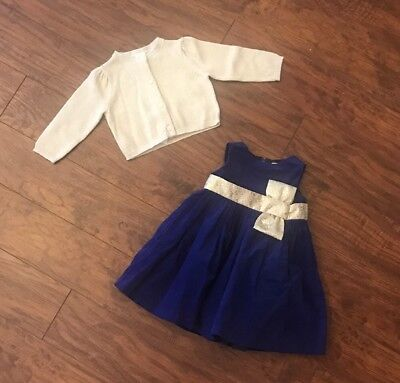 Gymboree Holiday Blue Velvet Dress & Gold Cardigan 6-12 Mos NWT $70 Retail ()