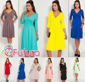 Classic-Elegant-Womens-Dress-V-Neck-Cocktail-Jersey-Office-Size-8-16-4400