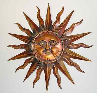 (Copper Patina Sun Face Extra Large Sunburst Metal Wall Art Hanging Decor ~ New)