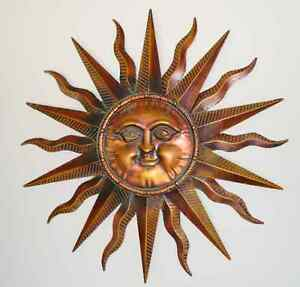 copper patina sun face extra large sunburst metal wall art