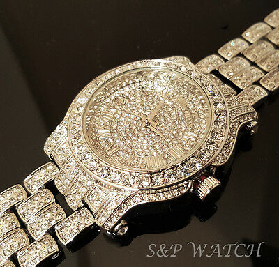 Men Hip Hop Iced White Gold Techno Pave Bling Simulated Diamond Rapper Watch