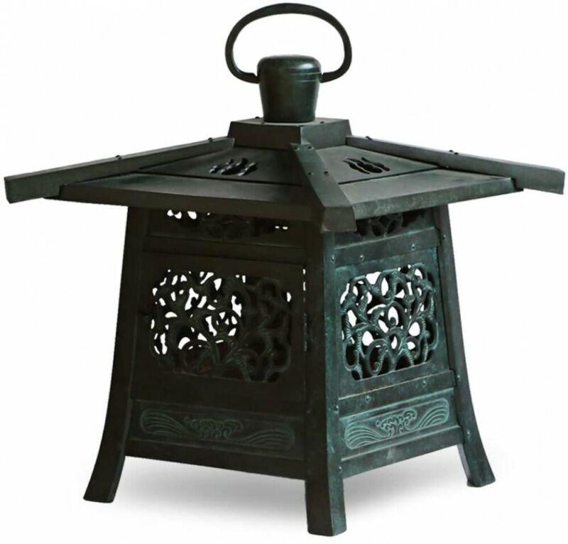 Toro Japanese Bronze Hanging Lantern Takaoka Craft Kasuga Motif Japan Large