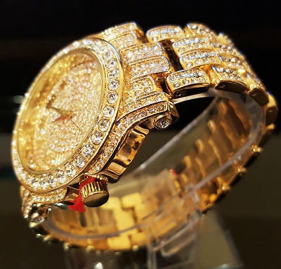 Men's Techno Pave Hip Hop Iced Out Bling Gold Tone Watch Black Silicone -