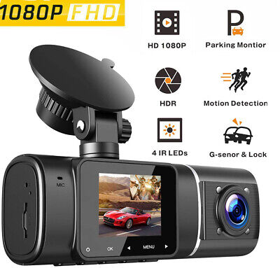 TOGUARD Dual DashCam HD 1080P Front+Inside Car Recorder Camera Night Vision Uber