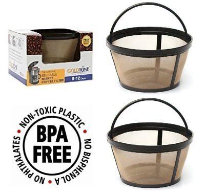 (2) GoldTone Reusable 8-12 Cup Basket Coffee Filter fits Black & Decker
