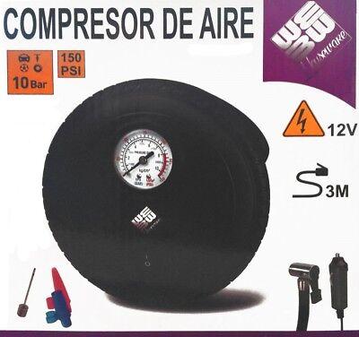 COMPRESOR DE AIRE PARA MECHERO COCHE 12V 10 BARES 150 PSI ELECTRICO...