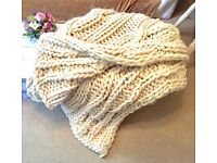 Large 100% Wool Chunky knitted throw/ blanket