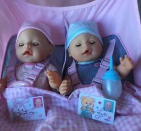 Twin Stroller, 2 dolls and High Chair