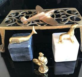 Collection of brass paperweights / ornaments