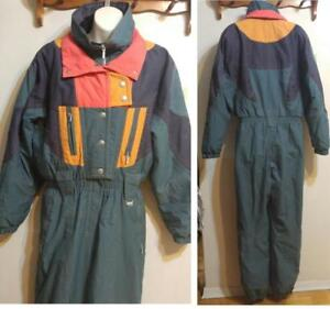 VINTAGE SKISUIT Womens 12 M L Sun Ice Hong Kong Thermal Nylon Green RARE Retro One-Piece 1 Snowsuit Winter Insulated