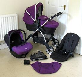 Silver Cross Wayfarer Pushchair, Carrycot & Simplicity Car Seat - Damson