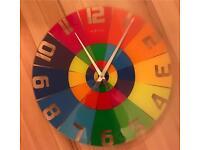 Next time rainbow coloured glass wall clock