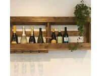 Rustic hand made with love wine rack