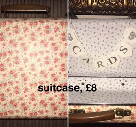 Wedding items, flowers, bunting, table runners, decorations etc