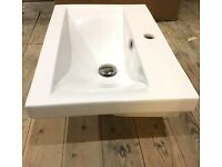 New and unused Wall Mounted White Ceramic Bathroom Sink