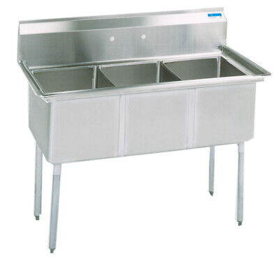 Bk Resources Bks-3-18-12 Commercial Stainless Steel 3-compartment Sink No Db