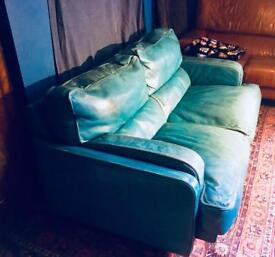 Turquoise leather sofa