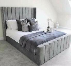 Brand new plush velvet high headboard beds
