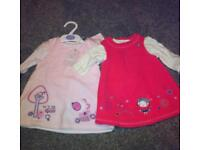 2 x pinafore dresses brand new 3-6months £3.50 for both!