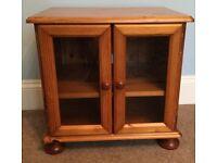 Solid Pine Shelved Cupboard & Glazed Doors / TV Unit roundfeet H20.5in/52cmW21.5in/54cmD17.5in/44cm