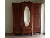 Antique 2 piece bedroom set-3 door, 8 drawer breakfront wardrobe and 6 drawer dressing table