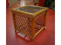 Vintage Cane & Bamboo Side Table